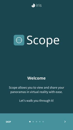 user interface after downloading and installing Scope Application