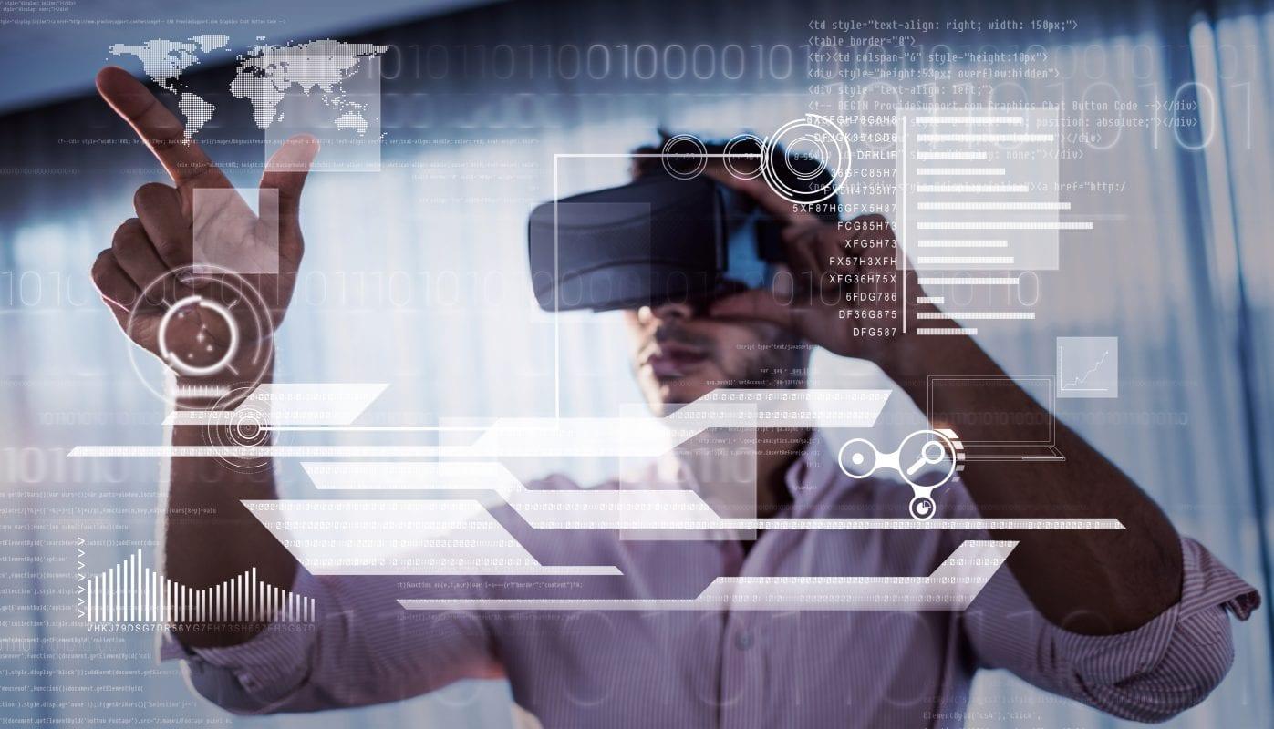 A businessman using oculus to do his job