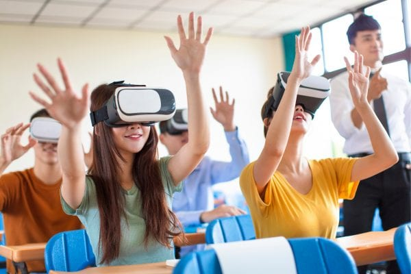 University students using VR in classroom